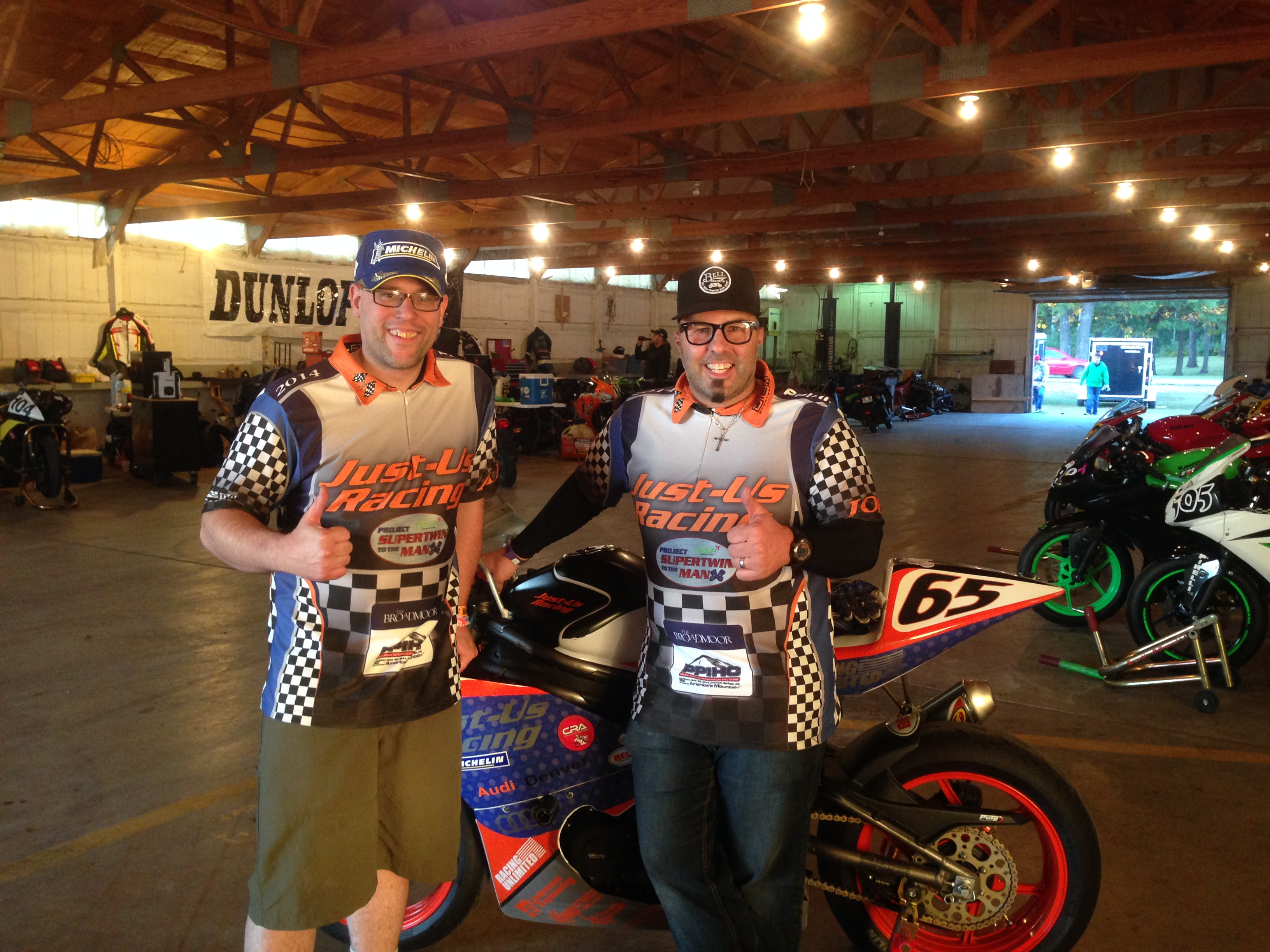 Adam & Joey at BIR after Adam's first win in the LWGP race September 2014.