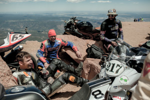 From left to right, Hot Carl Sorensen, Adam Bauer, and Travis Newbold all cracking jokes and having a great time at 14,110 feet on top of Pikes Peak. Photo by Sam Christmas.