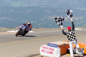Adam Bauer finishing his second Pikes Peak International Hill Climb on his Project Supertwin ER6 that he built. Finishing time was over 51 seconds faster than last year at 11:25.6!