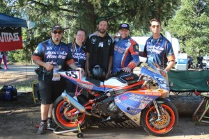 2015 PPIHC Just-Us Racing from left to right, Joey Kasper, Sue Bauer, Ronin Motorworks Rider Travis Newbold, Adam Bauer, and Brandon Fosbinder.